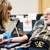Joed Viera/Staff Photographer-Lockport, NY-Robert Nowakowski, left,  pretends to wince before Maddie Clark puts a needle in his arm during the American Red Cross' Blood Drive at South Lockport Volunteer Company.