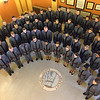 CONTRIBUTED-Lockport NY-The West Point Glee Club performs at the Niagara County Courthouse Friday morning.