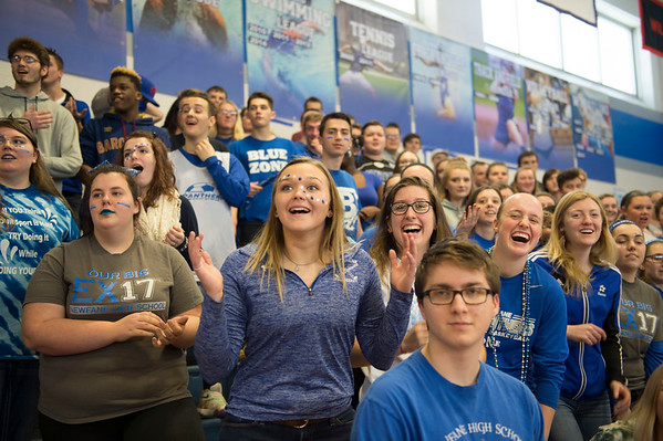 JOED VIERA/STAFF PHOTOGRAPHER-Buffalo, NY-Newfane High Schoolers laugh at classmates shooting basketballs from the free point line during the school's pep rally.