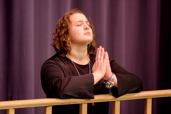 JOED VIERA/STAFF PHOTOGRAPHER-Newfane, NY-Beth Kropf, 18, rehearses for the Newfane High School production of the Sound of Music as Mother Abbess.