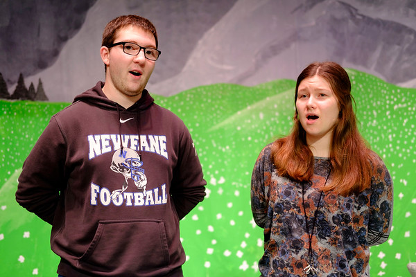 JOED VIERA/STAFF PHOTOGRAPHER-Newfane, NY-Chase Baker, 16, and Jillian Peracciny, 17, rehearse for the Newfane High School production of the Sound of Music as the show's leads Captain Von Trapp and Maria.