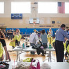JOED VIERA/STAFF PHOTOGRAPHER-Newfane, NY-Newfane Middle Schoolers get their heads shaved for Roswell Park's Bald for Bucks Event.