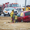 Joed Viera/Staff Photographer- Lockport, NY- South Lockport Volunteer firefighters work the scene of an accident on Lockport Junction Road.