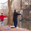 JOED VIERA/STAFF PHOTOGRAPHER-Burt, NY-Brandon Ames, 15, from Cortland and Brandon Stafford from Lockport cast their rods at Fisherman's Park