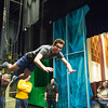 Joed Viera/Staff Photographer Lockport, NY-Nathan Ribbeck trys out a flying cable system during rehearsals for Lockport High School's production of The Little Mermaid.