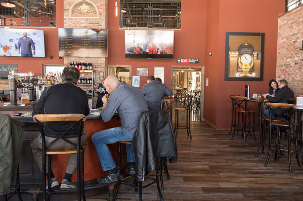 Joed Viera/Staff Photographer Lockport, NY-Patrons grab lunch at New York Beer Project.
