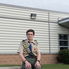 Joed Viera/Staff Photographer Lockport, NY-Life Scout Parker Gurnett sits outside of the Niagara County Communications Center. Gurnett is planning to build a memorial to firefighters outside of the center for his Eagle Scout project.