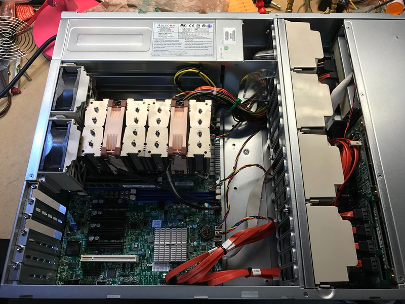 CPUs, RAM, and wiring installed