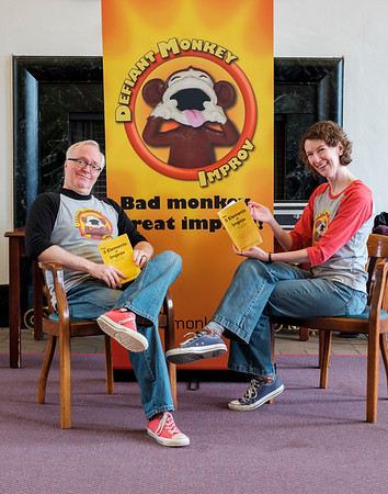 JOED VIERA/STAFF PHOTOGRAPHER-Lockport, NY- Karen Eichler and Andy Spragge of Defiant Monkey hold their new book in the Wheeler Room of the Lockport Public Library.