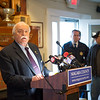 JOED VIERA/STAFF PHOTOGRAPHER-Olcott NY- Niagara County Legislator Vice Chairman Clyde L. Burmaster speaks during a press conference calling for a State of Emergency in Niagara County.
