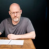 JOED VIERA/STAFF PHOTOGRAPHER-Lockport, NY- Geoff Koplas reads from Love Letters, a play he is acting in at the Taylor Theatre.