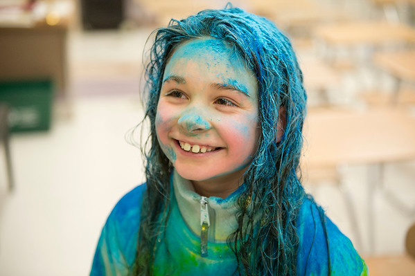 "JOED VIERA/STAFF PHOTOGRAPHER-Lockport, NY- Ryann Heary, 8, after participating in the Lockport Lions ""My School Color Run"" during the Family Literacy Night and Fitness Fair at North Park."