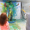 JOED VIERA/STAFF PHOTOGRAPHER-Pendleton, NY-Starpoint students blast Middleschool art teacher George Root with paint shot from water guns at last Year's Arts and Crafts show.