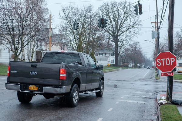 JOED VIERA/STAFF PHOTOGRAPHER-Lockport, NY- A truck stops at a the intersection of Park Avenue and Prospect Street. Highway Superintendent Mike Hoffman reccomended replacing the traffic lights at the intersection with stop signs.