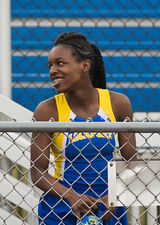 JOED VIERA/STAFF PHOTOGRAPHER-Lockport, NY- Kahniya James, 13, after winning the girls 100m dash during the track and field event at Max D. Lederer Field.