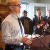 JOED VIERA/STAFF PHOTOGRAPHER-Olcott NY- Niagara County director of emergency services Jonathan Schultz speaks during a press conference calling for a State of Emergency in Niagara County while above average water levels in Lake Ontario continue to increase on Thursday, April 20th, 2017 at the Olcott Yacht Club  in Olcott, N.Y. (Joed Viera/Lockport Union-Sun & Journal)
