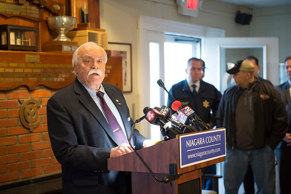 Niagara County Legislator Vice Chairman Clyde L. Burmaster speaks during a press conference calling for a State of Emergency in Niagara County while above average water levels in Lake Ontario continue to increase on Thursday, April 20th, 2017 at the Olcott Yacht Club  in Olcott, N.Y. (Joed Viera/Lockport Union-Sun & Journal)
