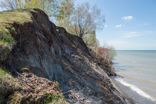 JOED VIERA/STAFF PHOTOGRAPHER-Wilson, NY-Damage to the Eaton's shoreline property caused by rising Lake Ontario water levels.