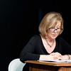 JOED VIERA/STAFF PHOTOGRAPHER-Lockport, NY-Kathleen Rooney reads from Love Letters, a play she is acting in at the Taylor Theatre.