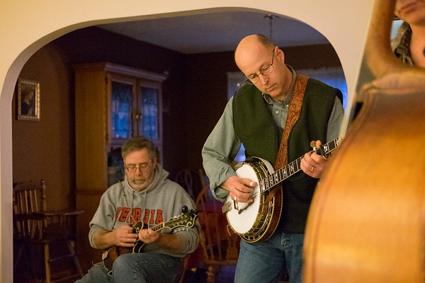 JOED VIERA/STAFF PHOTOGRAPHER-Royalton, NY-Higher Mountain'sBob Gnann and Charlie Kesterson rehearse in the Kesterson's living room.