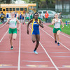 JOED VIERA/STAFF PHOTOGRAPHER-Lockport, NY- Kahniya James, 13, center, wins the girls 100m dash handily during the track and field event at Max D. Lederer Field.