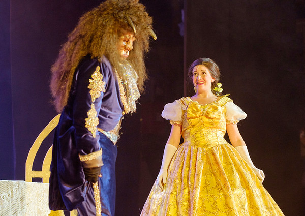 JOED VIERA/STAFF PHOTOGRAPHER-Lockport, NY-Kelly Ersing and Jake Hayes play Belle and the Beast during  aperformance of Beauty and the Beast at the Palace Theatre.