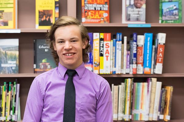 JOED VIERA/STAFF PHOTOGRAPHER-Barker, NY- Barker High School senior Josh Richbart in the school library.