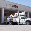 JOED VIERA/STAFF PHOTOGRAPHER-Lockport, NY-A Flexlume crew installs a sign at Keybank on Main Street.