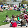 JOED VIERA/STAFF PHOTOGRAPHER-Gasport, NY-Hundreds of Royalton-Hartland Elementary students wait to watch a tree be planted in front of the school as a part of their Arbor Day celebration. Each student took home a Blue Spruce seedling to plant. In the past four years the school has distrubuted more than 2,000 spruces to students.