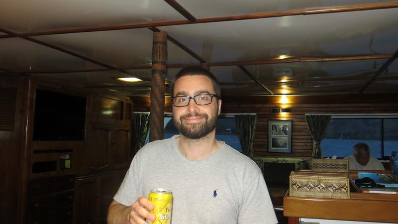 FRANCESCO ENJOYING HIS FIJIAN BEER