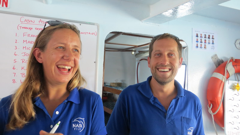 VANESSA FROM SCOTLAND AND CHAD FROM THE US ; OUR WONDERFUL DIVE  GUIDES. EXTREMELY KNOWLEDGEABLE  AND A CUTE COUPLE!