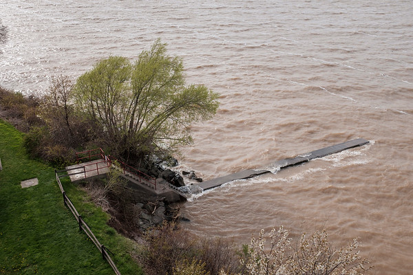 Lake Ontario rushes over the fishing pier at Golden Hill State Park in Barker, N.Y. on May 8th, 2017.(Joed Viera/Lockport Union-Sun & Journal)