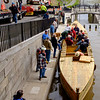 JOED VIERA/STAFF PHOTOGRAPHER-Lockport, NY-Volunteers boat builders board  the Erie Traveler.