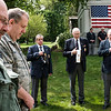 JOED VIERA/STAFF PHOTOGRAPHER-Lockport, NY-Lockport veterans pray during the memorial service at Cold Springs Cemetery.