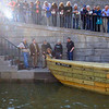 JOED VIERA/STAFF PHOTOGRAPHER-Lockport, NY-  The Erie Traveler is christened at the locktenders tribute ceremony.
