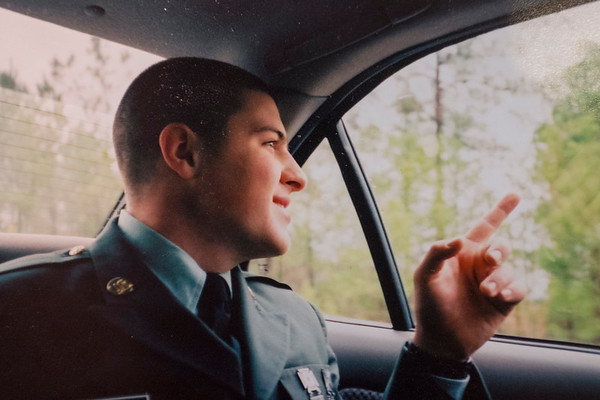 Contributed Photo - Timothy LeBar looks out of a car window after graduating from basic training.
