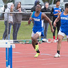 JOED VIERA/STAFF PHOTOGRAPHER-Medina NY-Newfane's Julian Nixon passes the baton to <br /> Reese Casinelli in the 4x100 event at Medina High School's track meet.
