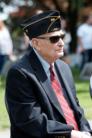 JOED VIERA/STAFF PHOTOGRAPHER-Lockport, NY- Army Korean War veteran and Honorary Grand Marshall Albert Brandt looks on during a memorial service at Cold Springs Cemetery.