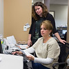 JOED VIERA/STAFF PHOTOGRAPHER-Pendleton, NY-Dr. Patricia Danahar works behind her medical assistant Pamela Adinolfe at their new office on Campbell Blvd.