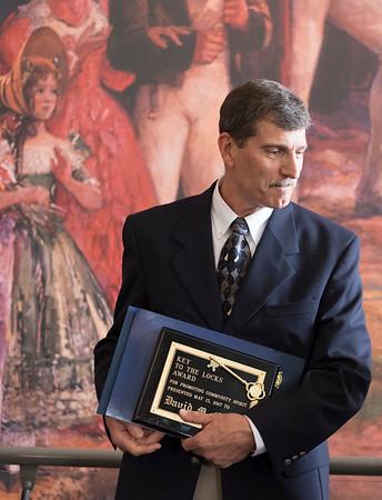 JOED VIERA/STAFF PHOTOGRAPHER-Lockport, NY-  David Chatt accepts the key to the locks award.