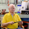 JOED VIERA/STAFF PHOTOGRAPHER-Lockport, NY-  Roger Bil holds a paring knife in his workshop.