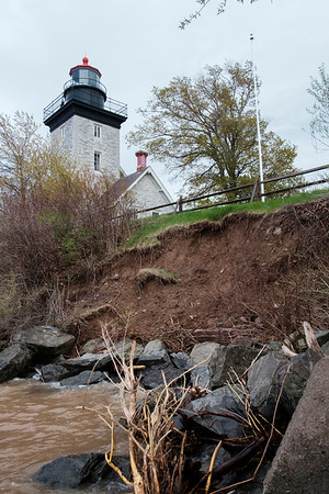 Lake Ontario erodes the shoreline at Golden Hill State Park in Barker, N.Y. on May 8th, 2017.(Joed Viera/Lockport Union-Sun & Journal)