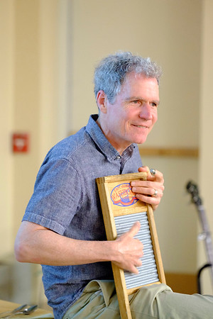 JOED VIERA/STAFF PHOTOGRAPHER-Lockport, NY-Dave Ruch demonstrates a song on a washboard during his presentation.