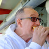JOED VIERA/STAFF PHOTOGRAPHER-Lockport, NY-  Peter Boes takes a bite of his hamburger at Reids.