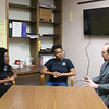 JOED VIERA/STAFF PHOTOGRAPHER-Lockport, NY- Probation officers Tiffany Harper-Giansante, Marcella Carson and  Micahel Schuller discuss their case load in their conference room.