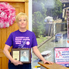JOED VIERA/STAFF PHOTOGRAPHER-Lockport, NY- Mother's Day Breast Cancer Canal Walk organizer Rebbeca Florio holds up a portrait of her sister Mary Marvin.