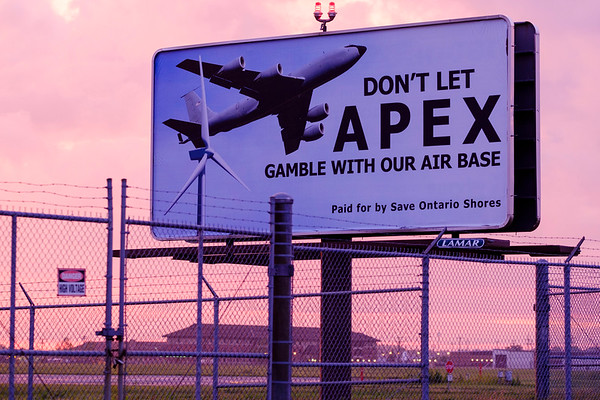JOED VIERA/STAFF PHOTOGRAPHER-A sign opposing Apex's Lighthouse Wind project paid for by Save Ontario Shores was installed on Walmore Road by the Niagara Air Reserve Station.