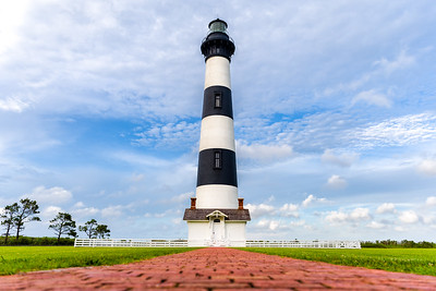 Ground-level view of Bodie Island Lighthouse.