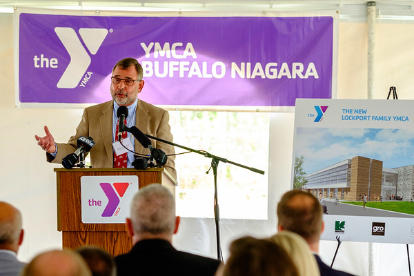 JOED VIERA/STAFF PHOTOGRAPHER-YMCA Buffalo Niagara CEO Buddy Campbell speaks at the organization's ground breaking ceremony for it's new facility projected to open in October 2018.