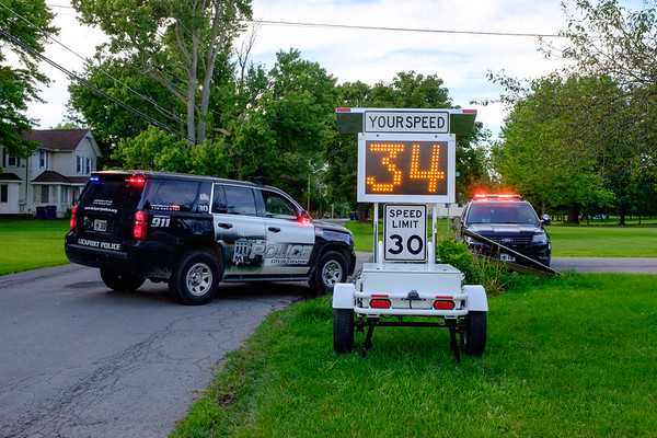 JOED VIERA/STAFF PHOTOGRAPHER-Lockport Police's radar picks up a speeding vehicle on Sycamore and Center Streets. The radar was obtained last year using funds obtained through Assest Forfeiture.